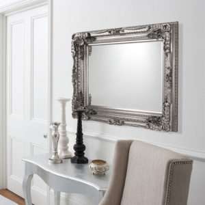 Carved Louis Silver Mirror